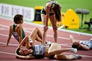 5 October 2019; Ciara Mageean of Ireland, standing, recovers after competing in the Women's 1500m Final during day nine of the 17th IAAF World Athletics Championships Doha 2019 at the Khalifa International Stadium in Doha, Qatar. Photo by Sam Barnes/Sportsfile