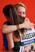 5 October 2019; Ciara Mageean of Ireland is congratulated by Derval O'Rourke after competing in the Women's 1500m Final during day nine of the 17th IAAF World Athletics Championships Doha 2019 at the Khalifa International Stadium in Doha, Qatar. Photo by Sam Barnes/Sportsfile