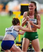 5 October 2019; Ciara Mageean of Ireland, right, helps Laura Muir of Great Britain after competing in the Women's 1500m Final during day nine of the 17th IAAF World Athletics Championships Doha 2019 at the Khalifa International Stadium in Doha, Qatar. Photo by Sam Barnes/Sportsfile
