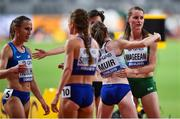 5 October 2019; Ciara Mageean of Ireland, right, with Laura Muir of Great Britain after competing in the Women's 1500m Final during day nine of the 17th IAAF World Athletics Championships Doha 2019 at the Khalifa International Stadium in Doha, Qatar. Photo by Sam Barnes/Sportsfile