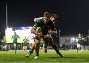 5 October 2019; Kyle Godwin of Connacht goes over to score his side's first try despite the tackle of Luca Sperandio of Benetton during the Guinness PRO14 Round 2 match between Connacht and Benetton at The Sportsground in Galway. Photo by Harry Murphy/Sportsfile