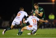 5 October 2019; Kyle Godwin of Connacht is tackled by Ian Keatley and Joaquin Riera of Benetton during the Guinness PRO14 Round 2 match between Connacht and Benetton at The Sportsground in Galway. Photo by Harry Murphy/Sportsfile