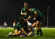 5 October 2019; Kyle Godwin of Connacht celebrates after scoring his side's first try with team-mates Caolin Blade and Conor Fitzgerald during the Guinness PRO14 Round 2 match between Connacht and Benetton at The Sportsground in Galway. Photo by Harry Murphy/Sportsfile