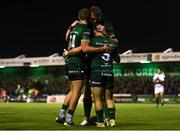 5 October 2019; Caolin Blade of Connacht, right, celebrates after scoring his side's second try with Stephen Fitzgerald and Gavin Thornbury during the Guinness PRO14 Round 2 match between Connacht and Benetton at The Sportsground in Galway. Photo by Harry Murphy/Sportsfile
