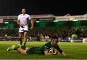 5 October 2019; Caolin Blade of Connacht goes over to score his side's second try during the Guinness PRO14 Round 2 match between Connacht and Benetton at The Sportsground in Galway. Photo by Harry Murphy/Sportsfile