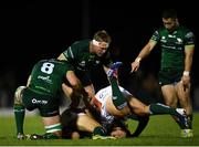 5 October 2019; Paul Boyle, left, Tom McCartney and Caolin Blade of Connacht in action against Leonardo Sarto and Ian Keatley of Benetton of Benetton during the Guinness PRO14 Round 2 match between Connacht and Benetton at The Sportsground in Galway. Photo by Harry Murphy/Sportsfile