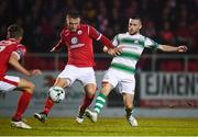 5 October 2019; Jack Byrne of Shamrock Rovers and David Cawley of Sligo Rovers during the SSE Airtricity League Premier Division match between Sligo Rovers and Shamrock Rovers at The Showgrounds in Sligo. Photo by Stephen McCarthy/Sportsfile