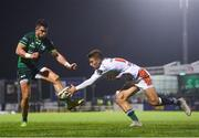 5 October 2019; Tiernan O'Halloran of Connacht in action against Luca Sperandio of Benetton during the Guinness PRO14 Round 2 match between Connacht and Benetton at The Sportsground in Galway. Photo by Harry Murphy/Sportsfile