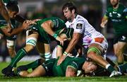 5 October 2019; Dominic Robertson-McCoy and Ultan Dillane of Connacht in action against Marco Fuser of Benetton during the Guinness PRO14 Round 2 match between Connacht and Benetton at The Sportsground in Galway. Photo by Harry Murphy/Sportsfile