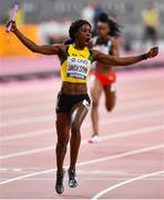 5 October 2019; Shericka Jackson of Jamaica celebrates winning the Women's 4x100m relay during day nine of the 17th IAAF World Athletics Championships Doha 2019 at the Khalifa International Stadium in Doha, Qatar. Photo by Sam Barnes/Sportsfile