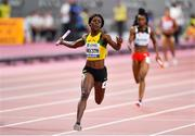 5 October 2019; Shericka Jackson of Jamaica on her way to winning the Women's 4x100m relay during day nine of the 17th IAAF World Athletics Championships Doha 2019 at the Khalifa International Stadium in Doha, Qatar. Photo by Sam Barnes/Sportsfile