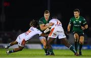 5 October 2019; Peter Robb of Connacht is tackled by Charly Trussardi and Cherif Traore of Benetton during the Guinness PRO14 Round 2 match between Connacht and Benetton at The Sportsground in Galway. Photo by Harry Murphy/Sportsfile