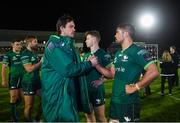 5 October 2019; Quinn Roux, left, and Jarrad Butler of Connacht shake hands following the Guinness PRO14 Round 2 match between Connacht and Benetton at The Sportsground in Galway. Photo by Harry Murphy/Sportsfile
