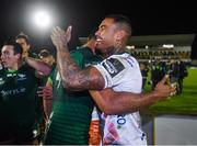 5 October 2019; Jarrad Butler of Connacht and Monty Ioane of Benetton embrace following the Guinness PRO14 Round 2 match between Connacht and Benetton at The Sportsground in Galway. Photo by Harry Murphy/Sportsfile