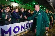 5 October 2019; Finlay Bealham of Connacht celebrates with fans following the Guinness PRO14 Round 2 match between Connacht and Benetton at The Sportsground in Galway. Photo by Harry Murphy/Sportsfile