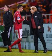 5 October 2019; Sligo Rovers manager Liam Buckley and Sam Warde during the SSE Airtricity League Premier Division match between Sligo Rovers and Shamrock Rovers at The Showgrounds in Sligo. Photo by Stephen McCarthy/Sportsfile