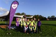 6 October 2019; Volunteers with Karen Yelverton of Vhi, left, and Brighid Smyth of Vhi, right, at the Shelbourne Junior parkrun where Vhi hosted a special event to celebrate their partnership with parkrun Ireland. Vhi hosted a lively warm up routine which was great fun for children and adults alike. Crossing the finish line was a special experience as children were showered with bubbles and streamers to celebrate their achievement and each child received a gift. Junior parkrun in partnership with Vhi support local communities in organising free, weekly, timed 2km runs every Sunday at 9.30am. To register for a parkrun near you visit www.parkrun.ie. Photo by Piaras Ó Mídheach/Sportsfile