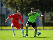6 October 2019; Eoin Whelan of Connacht FA in action against Anthony O'Donnell of Munster Senior League during the FAI Michael Ward Inter League Tournament match between Munster Senior League and Connacht FA at Kilbarrack United in Dublin. Photo by Seb Daly/Sportsfile