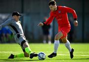 6 October 2019; Jake Hegarty of Munster Senior League in action against Gary Cunningham of Connacht FA during the FAI Michael Ward Inter League Tournament match between Munster Senior League and Connacht FA at Kilbarrack United in Dublin. Photo by Seb Daly/Sportsfile