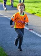 6 October 2019; Ruadhán Nicholas, from Ennis Road, Co Limerick, pictured at the Shelbourne Junior parkrun where Vhi hosted a special event to celebrate their partnership with parkrun Ireland. Vhi hosted a lively warm up routine which was great fun for children and adults alike. Crossing the finish line was a special experience as children were showered with bubbles and streamers to celebrate their achievement and each child received a gift. Junior parkrun in partnership with Vhi support local communities in organising free, weekly, timed 2km runs every Sunday at 9.30am. To register for a parkrun near you visit www.parkrun.ie. Photo by Piaras Ó Mídheach/Sportsfile
