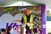 6 October 2019; Event Director Lavinia Duggan pictured at the Shelbourne Junior parkrun where Vhi hosted a special event to celebrate their partnership with parkrun Ireland. Vhi hosted a lively warm up routine which was great fun for children and adults alike. Crossing the finish line was a special experience as children were showered with bubbles and streamers to celebrate their achievement and each child received a gift. Junior parkrun in partnership with Vhi support local communities in organising free, weekly, timed 2km runs every Sunday at 9.30am. To register for a parkrun near you visit www.parkrun.ie. Photo by Piaras Ó Mídheach/Sportsfile
