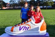 6 October 2019; Siblings, from left, Odhran, Oisín and Eabha McGuinness pictured at the Shelbourne Junior parkrun where Vhi hosted a special event to celebrate their partnership with parkrun Ireland. Vhi hosted a lively warm up routine which was great fun for children and adults alike. Crossing the finish line was a special experience as children were showered with bubbles and streamers to celebrate their achievement and each child received a gift. Junior parkrun in partnership with Vhi support local communities in organising free, weekly, timed 2km runs every Sunday at 9.30am. To register for a parkrun near you visit www.parkrun.ie. Photo by Piaras Ó Mídheach/Sportsfile