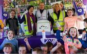 6 October 2019; Volunteers, from left, Emma Dillane, Niamh Keely and Lavinia Duggan pictured at the Shelbourne Junior parkrun where Vhi hosted a special event to celebrate their partnership with parkrun Ireland. Vhi hosted a lively warm up routine which was great fun for children and adults alike. Crossing the finish line was a special experience as children were showered with bubbles and streamers to celebrate their achievement and each child received a gift. Junior parkrun in partnership with Vhi support local communities in organising free, weekly, timed 2km runs every Sunday at 9.30am. To register for a parkrun near you visit www.parkrun.ie. Photo by Piaras Ó Mídheach/Sportsfile