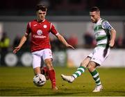 5 October 2019; Jack Byrne of Shamrock Rovers in action against Niall Morahan of Sligo Rovers during the SSE Airtricity League Premier Division match between Sligo Rovers and Shamrock Rovers at The Showgrounds in Sligo. Photo by Stephen McCarthy/Sportsfile