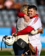 6 October 2019; Alan Nolan of St Brigids embraces his wife Amy Molloy following his side's victory in the Dublin County Senior Club Hurling Championship semi-final match between Craobh Chiaráin and St Brigid's at Parnell Park in Dublin. Photo by David Fitzgerald/Sportsfile