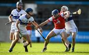6 October 2019; Sean Moran of Cuala in action against Brian Bolger, right, and Rian McBride of St Vincents during the Dublin County Senior Club Hurling Championship semi-final match between St Vincents and Cuala at Parnell Park in Dublin. Photo by David Fitzgerald/Sportsfile
