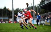 6 October 2019; Con O'Callaghan of Cuala in action against Neal Billings of St Vincents during the Dublin County Senior Club Hurling Championship semi-final match between St Vincents and Cuala at Parnell Park in Dublin. Photo by David Fitzgerald/Sportsfile
