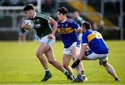 6 October 2019; Michael Carroll of Gaoth Dobhair in action against Eoin McHugh and Brian McGinleyof Kilcar during the Donegal County Senior Club Football Championship semi-final match between Kilcar and Gaoth Dobhair at MacCumhaill Park in Ballybofey, Donegal. Photo by Oliver McVeigh/Sportsfile