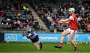 6 October 2019; Colm Cronin of Cuala scores his side's third goal during the Dublin County Senior Club Hurling Championship semi-final match between St Vincents and Cuala at Parnell Park in Dublin. Photo by David Fitzgerald/Sportsfile