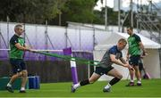 7 October 2019; Keith Earls with team doctor Dr Ciaran Cosgrove during Ireland Rugby squad training session at Shirouzuoike Park in Fukuoka, Japan. Photo by Brendan Moran/Sportsfile