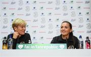 7 October 2019; Katie McCabe and manager Vera Pauw during a Republic of Ireland women's team press conference at the FAI National Training Centre in Abbotstown, Dublin.  Photo by Stephen McCarthy/Sportsfile