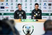 7 October 2019; Republic of Ireland's John Egan, right, and Kevin Long during a press conference at the FAI National Training Centre in Abbotstown, Dublin. Photo by Stephen McCarthy/Sportsfile