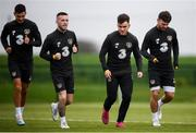 7 October 2019; Players, from left, John Egan, Jack Byrne, Aaron Connolly and Scott Hogan during a Republic of Ireland training session at the FAI National Training Centre in Abbotstown, Dublin. Photo by Stephen McCarthy/Sportsfile