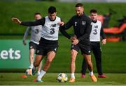 7 October 2019; John Egan, left, and Conor Hourihane during a Republic of Ireland training session at the FAI National Training Centre in Abbotstown, Dublin. Photo by Stephen McCarthy/Sportsfile