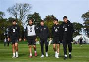7 October 2019; Republic of Ireland players, from left, James Collins, Jeff Hendrick, Seamus Coleman, Callum O'Dowda and Matt Doherty during a training session at the FAI National Training Centre in Abbotstown, Dublin. Photo by Stephen McCarthy/Sportsfile