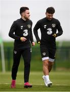 7 October 2019; Aaron Connolly, left, and Scott Hogan during a Republic of Ireland training session at the FAI National Training Centre in Abbotstown, Dublin. Photo by Stephen McCarthy/Sportsfile
