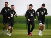 7 October 2019; Republic of Ireland players, from left, John Egan, Jack Byrne, Aaron Connolly and Scott Hogan during a training session at the FAI National Training Centre in Abbotstown, Dublin. Photo by Stephen McCarthy/Sportsfile