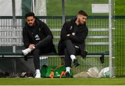 7 October 2019; Derrick Williams, left, and Matt Doherty during a Republic of Ireland training session at the FAI National Training Centre in Abbotstown, Dublin. Photo by Stephen McCarthy/Sportsfile