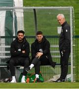 7 October 2019; Republic of Ireland manager Mick McCarthy with Derrick Williams, left, and Matt Doherty during a Republic of Ireland training session at the FAI National Training Centre in Abbotstown, Dublin. Photo by Stephen McCarthy/Sportsfile