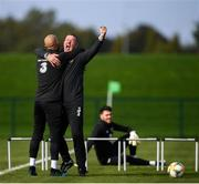 7 October 2019; Republic of Ireland goalkeeping coach Alan Kelly and Darren Randolph, left, celebrate during a Republic of Ireland training session at the FAI National Training Centre in Abbotstown, Dublin. Photo by Stephen McCarthy/Sportsfile
