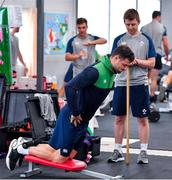 8 October 2019; Robbie Henshaw is watched by team physio Colm Fuller during an Ireland Rugby squad gym session at Shirouzuoike Park in Fukuoka, Japan. Photo by Brendan Moran/Sportsfile