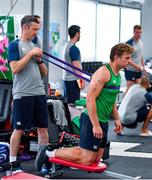 8 October 2019; Jordi Murphy and team physio Keith Fox during an Ireland Rugby squad gym session at Shirouzuoike Park in Fukuoka, Japan. Photo by Brendan Moran/Sportsfile