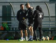 8 October 2019; Republic of Ireland assistant coach Robbie Keane, James McClean and Republic of Ireland assistant coach Terry Connor during a Republic of Ireland Training Session at the FAI National Training Centre in Abbotstown, Dublin. Photo by Harry Murphy/Sportsfile