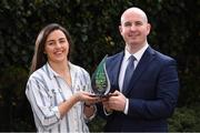 8 October 2019; Dublin footballer Lyndsey Davey is presented The Croke Park/LGFA Player of the Month for September Award by Alan Smullen, General Manager, The Croke Park at The Croke Park Hotel in Dublin. Photo by Matt Browne/Sportsfile