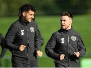 8 October 2019; John Egan speaks with Aaron Connolly during a Republic of Ireland Training Session at the FAI National Training Centre in Abbotstown, Dublin. Photo by Harry Murphy/Sportsfile