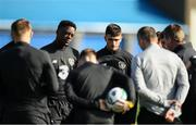 8 October 2019; Troy Parrott, right, and Jonathan Afolabi in a team huddle during a Republic of Ireland U21's  Training Session at FAI National Training Centre in Abbotstown, Dublin. Photo by Harry Murphy/Sportsfile
